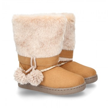 Autumn winter canvas lined boots Australian style with POMPONS and fake hair neck design.