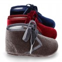 Velvet canvas Bootie shoes for babies with ties closure.