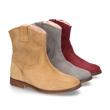 Suede leather ankle boots countryside style with classic design.