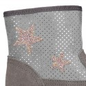 Autumn winter canvas little ankle boots with STARS design.