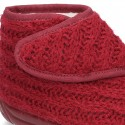 New structured wool knit Jersey style bootie home shoes with velcro strap.