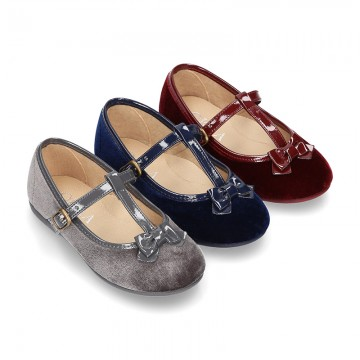 Autumn winter Velvet canvas T-strap little Mary Jane shoes combined with bow.