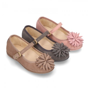 New Suede leather little Mary Jane shoes with FLOWER Pompon design.
