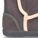 Autumn winter canvas Lined boot shoes with hook and loop strap closure and sneaker outsole.