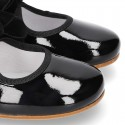 New Little Mary Janes angle style in BLACK patent leather with velvet ties.