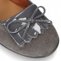 Little Mary Jane shoes with FRINGED design in Suede leather.