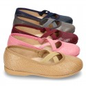 Autumn winter print canvas Ballet flat shoes with crossed ribbons.