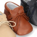 Extra Soft Nappa leather little BEAR bootie for babies with velcro strap.