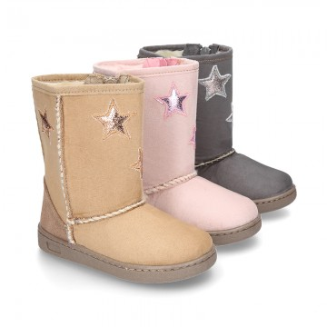 Autumn winter canvas boots with fake hair lining and STARS design.
