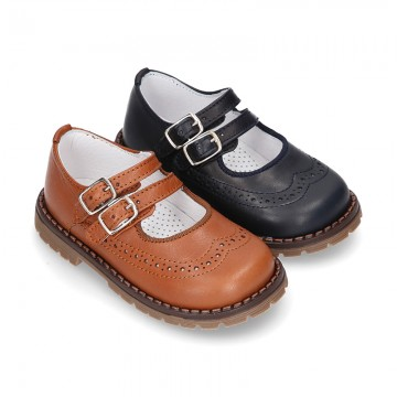 Nappa leather SPORT Mary Jane shoes with mountain soles.
