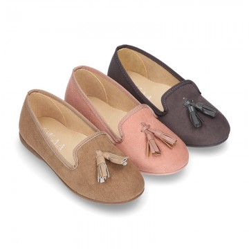 Autumn winter canvas Ballet flats with tassels.