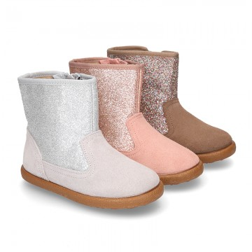 Autumn winter suede leather little ankle boots with GLITTER design.