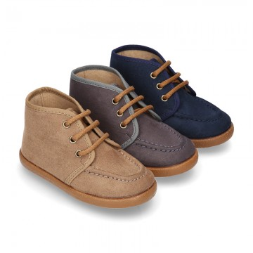 Autumn winter canvas Bootie shoes Moccasin wallabee style.