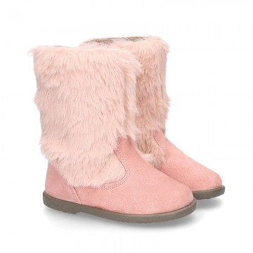 New PINK suede leather boots with FAKE HAIR design.