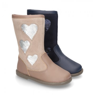 New combined leather boots combined with HEARTS design.