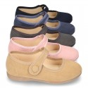 Autumn winter canvas little Mary Jane shoes with velcro strap and button.
