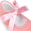 Classic little Mary Jane shoes with ties closure in suede leather for babies.