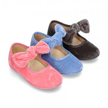 New Velvet canvas little Mary Jane shoes with velcro strap and big bow design.