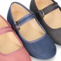 New Serratex canvas Mary Jane shoes with Japanese buckle fastening.