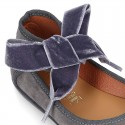 New Stylized Suede leather little Mary Jane shoes with velvet ribbon tied to the ankle.