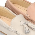 EXTRA SOFT nappa leather Moccasin shoes with tassels for little kids in pastel colors.