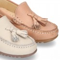 EXTRA SOFT nappa leather Moccasin shoes with tassels in pastel colors.