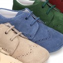 Soft Suede leather Laces up style shoes for baby.