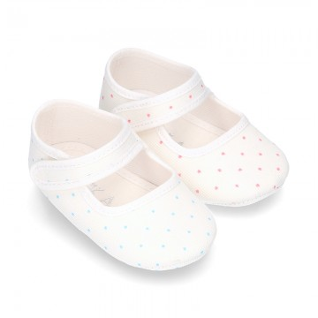 Cotton canvas little Mary Jane shoes for babies with multi dots print design.