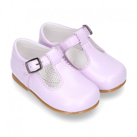 Fashionable T-Strap shoes with buckle fastening in LILAC nappa leather.