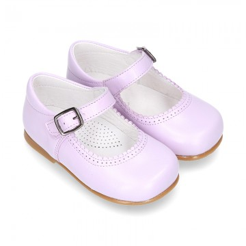 Fashionable Halter little Mary Jane shoes with buckle fastening in LILAC nappa leather.