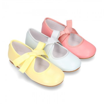 New SOFT nappa leather little Mary Jane shoes angel style in seasonal colors.
