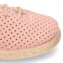Suede leather Laces up style espadrille shoes with perforated design.