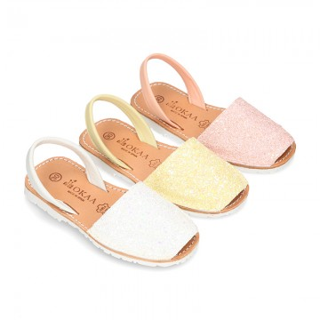 New EXTRA SOFT leather Menorquina sandals with rear strap and glitter finishes.