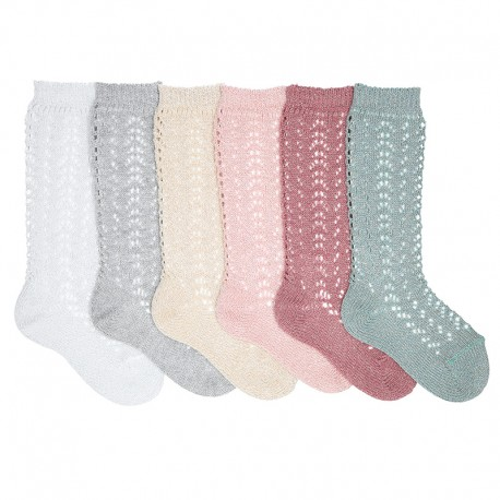 METALLIC YARN OPENWORK PERLE KNEE-HIGH SOCKS BY CONDOR.