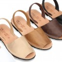 Leather Menorquina sandals with rear strap for toddler boys and DADS too.