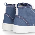 New DENIM cotton canvas ankle sneakers with zipper and ties closure.