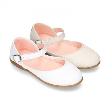 CEREMONY Nappa leather Halter Mary Janes with flower impressed design.