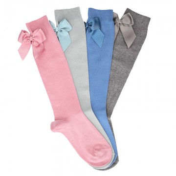 CHILDREN´S COTTON KNEE-HIGH SOCKS WITH GROSGRAIN BACK BOW BY CONDOR.