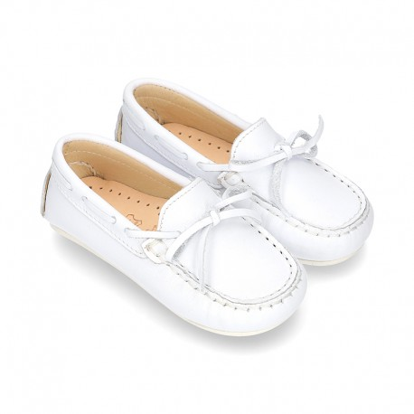White Nappa leather Moccasin shoes for little kids.