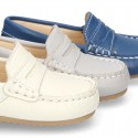 SOFT NAPPA leather moccasin shoes for little kids.