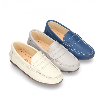 SOFT NAPPA leather moccasin shoes with detail mask.