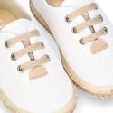 LINEN canvas Laces up style espadrille shoes in WHITE color.