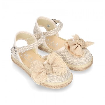 LINEN canvas espadrille shoes with Bow in NATURAL color.