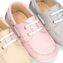 Classic nappa leather Boat shoes pastel colors for kids.