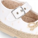 PLUMETI COTTON canvas little Mary Jane shoes espadrille style for babies.