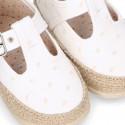PLUMETI COTTON canvas little T-Strap shoes espadrille style for babies.