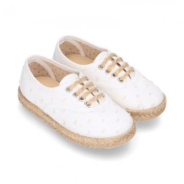 PLUMETI COTTON canvas little laces-up shoes espadrille style for kids.