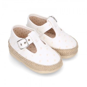 PLUMETI COTTON canvas little T-Strap shoes espadrille style for babies.