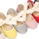 New SPRING SUMMER canvas Mary Jane shoes with ties closure with big bow.