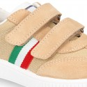 Combined canvas suede leather tennis shoes with VELCRO strap .